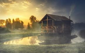 Картинка лес, лето, небо, трава, солнце, деревья, пейзаж, природа, туман, уют, озеро, дом, отражение, рассвет, берег, ...