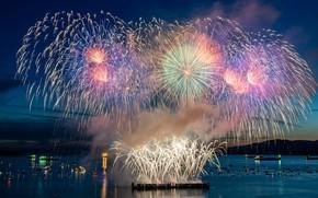 Картинка ночь, город, огни, побережье, корабли, яхты, салют, лодки, Канада, залив, Ванкувер, фейерверк, Vancouver