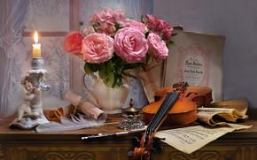 Картинка цветы, стиль, ноты, перо, скрипка, розы, свеча, букет, окно, натюрморт, подсвечник, чернильница, альстромерия, Валентина Колова