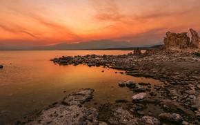Картинка море, небо, закат, горы, камни, берег