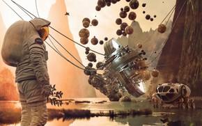 Картинка транспорт, космонавт, водоём, Challenge, Apollo 50th Anniversary