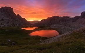 Картинка закат, горы, озеро, скалы, вершины, вечер, Италия, водоем, в горах, Доломиты