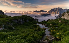 Картинка облака, горы, Италия, Доломиты