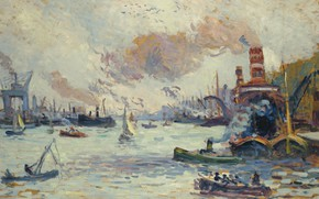 Картинка картина, морской пейзаж, 1908, Роттердам, Максимильен Люс, Maximilien Luce