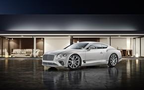 Картинка Bentley, Continental, Белый, Машина, Car, Автомобиль, Automotive, Bentley Continental GT, Architecture, Белый цвет, Transport & …