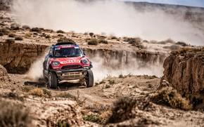 Картинка Mini, Пыль, Спорт, Машина, Гонка, Автомобиль, 300, Rally, Dakar, Дакар, Внедорожник, Ралли, X-Raid Team, MINI …