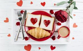 Картинка любовь, цветы, сердце, розы, завтрак, лепестки, красные, red, love, heart, flowers, romantic, джем, coffee cup, …