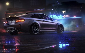 Картинка ночь, BMW, game, NFS, night, art, Electronic Arts, Need For Speed, BMW M4, Need For …
