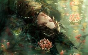 Картинка парень, черные волосы, хризантемы, в воде, закрытые глаза, лисьи ушки, лежит на спине, Cecile, круги …