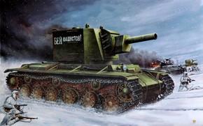 Обои солдаты, Советский, Винтовка Мосина, тяжёлый, ППШ, WWII, Восточный фронт, штурмовой танк, с башней МТ-1
