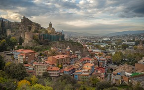 Обои Тбилиси, здания, Крепость Нарикала, Старый Тбилиси, развалины, панорама, дома, Церковь Святого Николая, Грузия