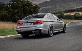 Картинка трава, серый, растительность, BMW, сзади, седан, обочина, 4x4, 2018, четырёхдверный, M5, V8, F90, M5 Competition