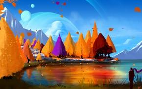 Картинка Рисунок, Осень, Озеро, Деревья, Человек, Лес, Планета, Стиль, Планеты, Fantasy, Арт, Art, Спутник, Фантастика, Спутники, …
