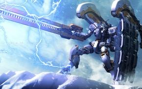 Картинка оружие, молния, Робот, Mobile Suit Gundam
