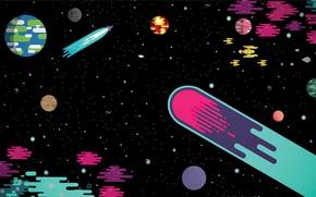 Картинка белый, фиолетовый, космос, звезды, свет, оранжевый, синий, желтый, красный, зеленый, блики, жёлтый, серый, тьма, огонь, …