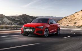 Картинка дорога, горы, красный, Audi, скорость, трасса, Sedan