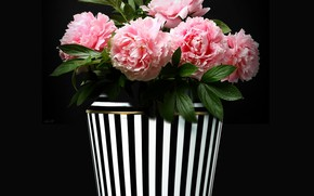 Картинка vase, bouquet, decoration, peonies, bunch of flower