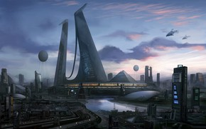 Картинка город, будущее, здания, небоскребы, sci-fi art