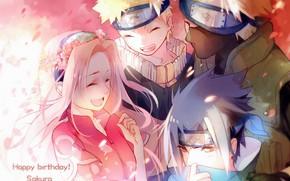 Картинка команда, Naruto, друзья, венок, улыбки, ниндзи, розовые волосы, Sasuke Uchiha, Sakura Haruno, Naruto Uzumaki, Hatake …