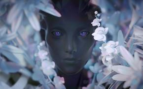 Картинка взгляд, девушка, цветы, лицо, рендеринг, фантастика