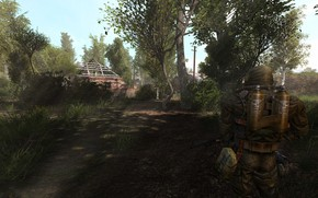 Картинка деревья, оружие, деревня, развалины, сталкер, weapons, S.T.A.L.K.E.R