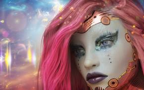 Картинка девушка, космос, туманность, существо