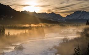 Картинка зима, лес, солнце, облака, лучи, свет, горы, туман, вершины, утро, Альпы, панорама