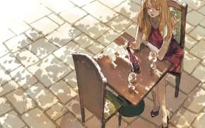 Обои девушка, кафе, столик, брущатка