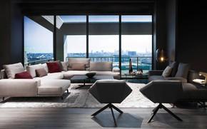 Картинка дизайн, стиль, интерьер, мегаполис, гостиная