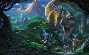 Картинка динозавр, погоня, Chris Dien, Tombs of Anniliation