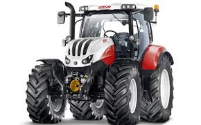 Картинка трактор, белый фон, Steyr, Profi, 6145