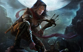 Картинка Moon, Blizzard, Art, Diablo 3, Diablo, Valla, Demon Hunters, Nephalem, Vengeance Incarnate, by Yang Chen, …