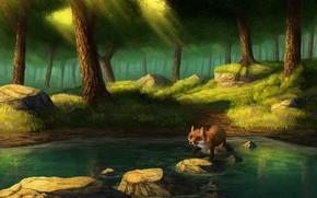 Картинка лес, озеро, лиса, by CreeperMan0508