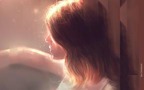 Картинка рука, шатенка, в профиль, портрет девушки, свет и тень, by Chuby Mi