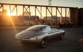 Картинка Солнце, Серый, Jaguar E-Type, Спорткар