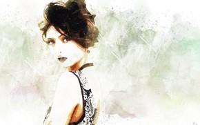 Картинка девушка, прическа, акварель