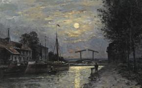 Картинка пейзаж, ночь, картина, Stanislas Lepine, Станислас Лепин, 1876-79, Канал Сен-Дени. Лунный эффект