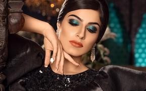 Картинка девушка, лицо, серьги, макияж, красивая, Varun Chauhan