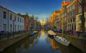 Картинка лодка, дома, Амстердам, канал, Нидерланды