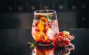 Картинка бокал, лёд, коктейль, напиток, гранат
