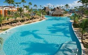 Картинка пальмы, бассейн, курорт, Dominican Republic, Доминика, бунгала, Breathless Punta Cana resort & spa
