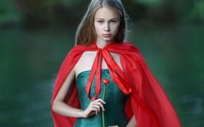 Картинка цветок, взгляд, вода, девушка, платье, кувшинка, накидка, русая, Ирина Голубятникова