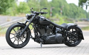 Картинка Harley-Davidson, Custom, Motorcycle, Breakout, Thunderbike, Completely Black