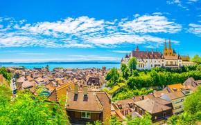 Картинка небо, замок, дома, Швейцария, крыши, Невшатель
