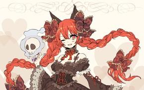 Картинка череп, сердечки, декольте, рыжая, бантики, черное платье, розовый фон, подмигивание, косы, шнуровка, оборки, кошачьи ушки, …