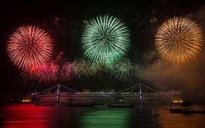 Картинка мост, огни, салют, фейерверк