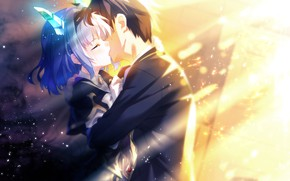 Картинка девушка, поцелуй, слезы, парень, games, anime, art, рожки, The World's End Fallen Star