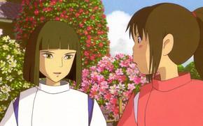 Картинка японская одежда, art, Hayao Miyazaki, цветник, Haku, Spirited Away, Унесенные призраками, в саду, Chihiro, мальчик …