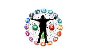 Картинка фон, человек, интернет, связь, логотипы, социальные сети