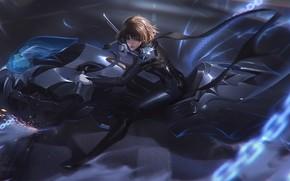 Картинка девушка, мотоцикл, Persona 5, Makoto Niijima